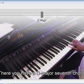 C Major 7th chord notation on treble staff