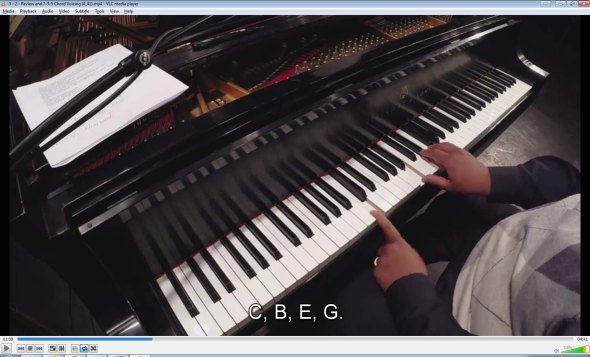735 voicing: Cmaj7 voiced as C (in a lower octave) and B-E-G, instead of EGB.