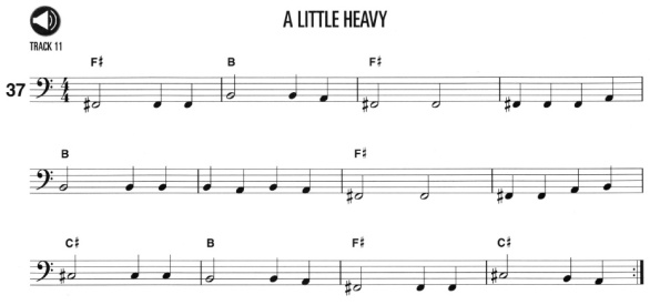 "Ex 37., ""A Little Heavy"" from the Hal Leonard Bass Method"
